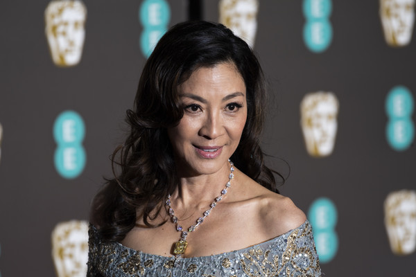 Michelle Yeoh Long Curls [hair,face,lady,beauty,fashion,black hair,dress,smile,event,photography,red carpet arrivals,michelle yeoh,ee,london,england,royal albert hall,british academy film awards]