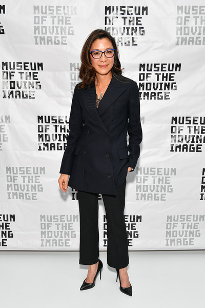 Michelle Yeoh Pantsuit [michelle yeoh in conversation with ang lee,michelle yeoh,clothing,suit,pantsuit,outerwear,premiere,formal wear,event,tuxedo,white-collar worker,blazer,an evening with michelle yeoh,museum of the moving image,new york city]