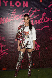 Hailee Steinfeld took matchy-matchy to the extreme with this Fausto Puglisi thigh-high boots and T-shirt combo.