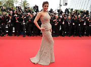 Aishwarya looked spectacular at the Cannes Film Festival in a nude one-shoulder embroidered evening gown.