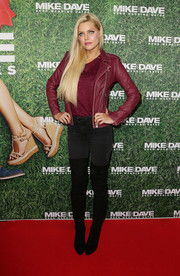 Sophie Monk was moto-chic in a burgundy leather jacket while attending the fan premiere of 'Mike and Dave Need Wedding Dates.'