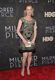 Gretchen is an embroidered beauty in an art deco frock at the 'Mildred Pierce' premiere.