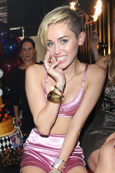 More Pics of Miley Cyrus Boy Cut (1 of 10) - Miley Cyrus Lookbook - StyleBistro [bangerz,the general,human hair color,beauty,lady,girl,leg,human body,thigh,fashion,abdomen,blond,miley cyrus,new york city,official album release party]