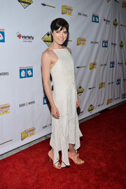 Selma Blair was summer-chic in a white hankerchief-hem sundress at the Milk + Bookies Story Time celebration.