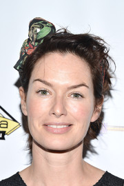 Lena Headey wore her short locks unstyled when she attended the Milk + Bookies Story Time celebration.