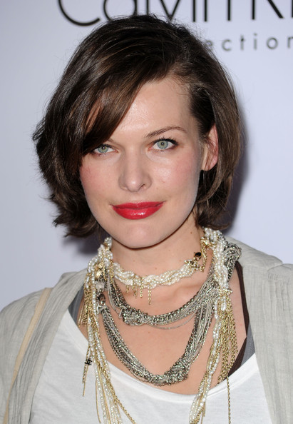 Milla Jovovich Bob [hair,face,hairstyle,lip,eyebrow,chin,beauty,skin,forehead,cheek,milla jovovich,land,los angeles,california,calvin klein collection land,art los angeles contemporary,los angeles nomadic division,annual celebration for l.a. arts monthly,1st annual celebration for alac]
