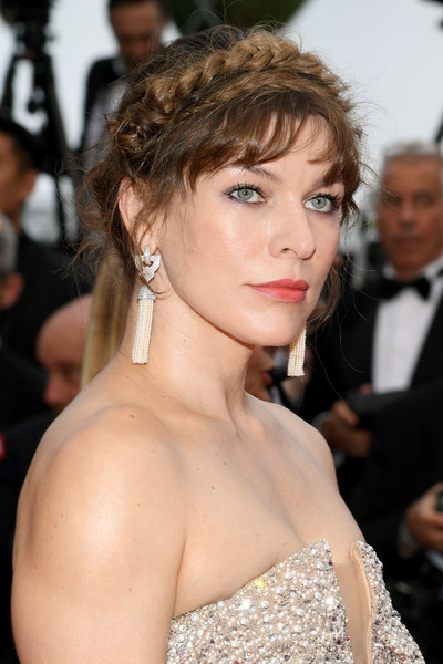 Milla Jovovich Braided Updo [hair,hairstyle,eyebrow,beauty,chin,premiere,shoulder,lip,blond,chignon,sibyl,milla jovovich,sibyl red carpet,screening,cannes,france,the 72nd annual cannes film festival]