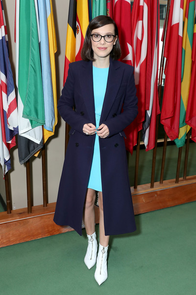 Millie Bobby Brown Ankle Boots [outerwear,blazer,room,uniform,formal wear,millie bobby brown,ambassador,actress,unicef today appointed emmy,new york city,unicef,on world childrens day,goodwill ambassador,world childrens day,audrey hepburn,goodwill ambassador,stranger things,unicef,actor,primetime emmy award,image,ambassador]