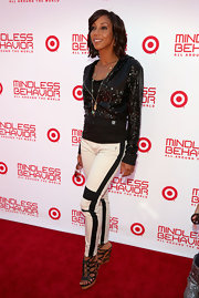 Holly Robinson Peete showed off her edgy style with this pair of white and black striped skinny pants.