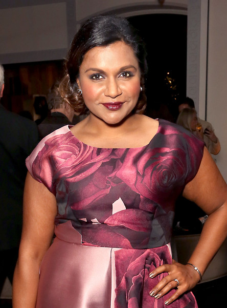 Mindy Kaling Bangle Bracelet [the mindy project,beauty,pink,fashion,abdomen,human body,trunk,cocktail dress,textile,dress,haute couture,mindy kaling,hulu,beverly hills,california,hulu holiday party,holiday party]