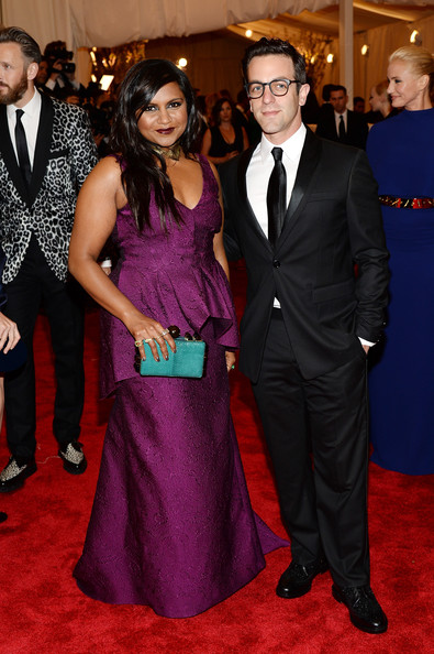 Mindy Kaling Box Clutch [punk: chaos to couture,flooring,carpet,formal wear,red carpet,suit,fashion,dress,tuxedo,gown,girl,mindy kaling,b.j.,novak,new york city,metropolitan museum of art,punk: chaos to couture costume institute gala,exhibition]