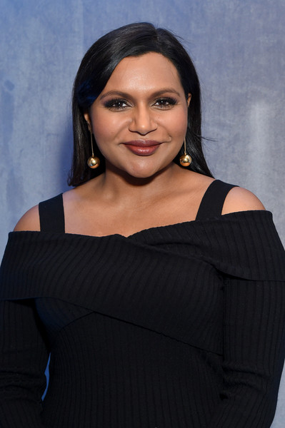 Mindy Kaling Dangling Spheres [photo,face,black,shoulder,beauty,little black dress,black hair,joint,photo shoot,photography,neck,upfront 2018,mindy kaling,hulu,green room,upfront 2018 green room,the hulu theater,new york city,madison square garden]