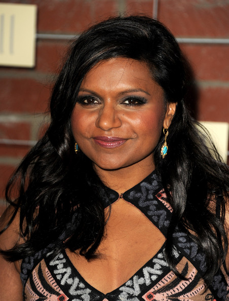 Mindy Kaling Dangling Turquiose Earrings [hair,hairstyle,eyebrow,beauty,black hair,chin,forehead,long hair,smile,brown hair,mindy kaling,fall eco-casino party,the bookbindery,culver city,california,fox,fox]