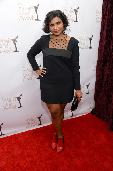 Mindy Kaling Little Black Dress [red carpet,little black dress,black,flooring,fashion model,dress,shoulder,leg,fashion,carpet,cocktail dress,mindy kaling,writers guild awards,los angeles,jw marriott,california,l.a. live,wgaw,wgaw writers guild awards]
