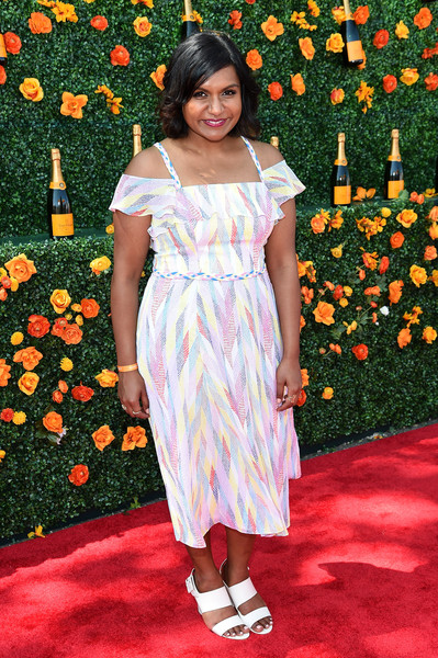 Mindy Kaling Strappy Sandals [clothing,dress,flooring,carpet,flower,shoulder,lady,red carpet,fashion,girl,red carpet arrivals,mindy kaling,eighth,jersey city,new jersey,liberty state park,veuve clicquot polo classic]