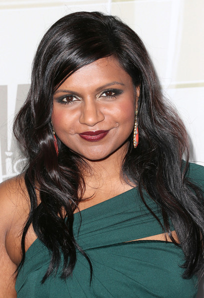 Mindy Kaling Long Wavy Cut [hair,hairstyle,face,eyebrow,black hair,long hair,beauty,chin,forehead,layered hair,mindy kaling,nominees,emmy nominees,emmy,california,los angeles,soleto,fox broadcasting company,twentieth century fox television and fx celebrates]