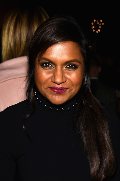 Mindy Kaling Berry Lipstick [the new yorker festival 2014,hair,face,eyebrow,hairstyle,lip,forehead,black hair,beauty,chin,cheek,mindy kaling,top,new york city,the standard hotel,wrap party,new yorker festival 2014 wrap party]