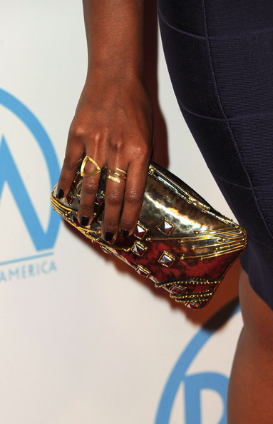 Mindy Kaling Dark Nail Polish [fashion,hand,nail,finger,footwear,fashion accessory,electric blue,shoe,jewellery,metal,arrivals,mindy kaling,the beverly hilton,hotel,beverly hills,california,annual producers guild awards]
