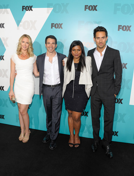 Mindy Kaling Leather Jacket [fox 2012 programming presentation post-show party,suit,event,premiere,carpet,fashion,red carpet,formal wear,white-collar worker,flooring,tuxedo,new york city,wollman rink - central park,anna camp,chris messina,ed weeks,mindy kaling]