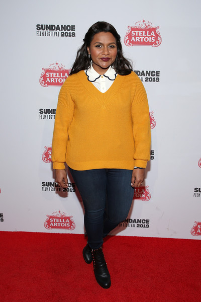 Mindy Kaling V-neck Sweater [stella artois deadline sundance series at stellas film lounge: a live q a with the filmmakers,late night,clothing,orange,yellow,outerwear,carpet,joint,footwear,premiere,shoe,mindy kaling,stella artois deadline sundance series,filmmakers,stellas film lounge,utah,park city,stellas film lounge: a live q a]