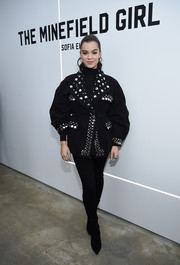 Hailee Steinfeld was cool and edgy in a studded and grommeted pea coat by Isabel Marant at the the 'Minefield Girl' audiovisual book launch.
