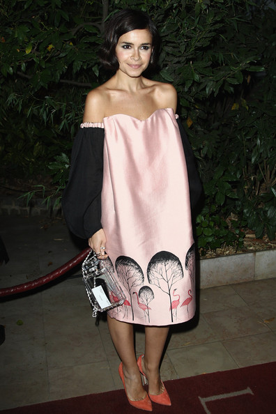 Miroslava Duma Off-the-Shoulder Dress