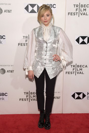 Chloe Grace Moretz looked liked she just stepped out of a period film when she wore this silver vest and white blouse combo by Louis Vuitton at the Tribeca Film Festival premiere of 'The Miseducation of Cameron Post.'