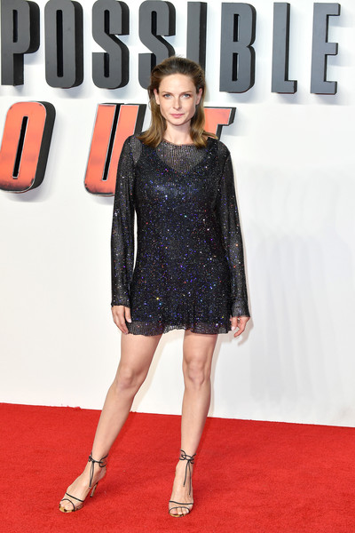 Rebecca Ferguson looked sassy in a micro-beaded mini dress by Celia Kritharioti at the UK premiere of 'Mission: Impossible — Fallout.'