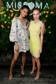 Chanel Iman attended the launch of Momposina wearing a summery floral mini dress.