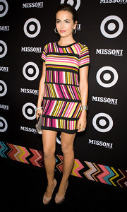 Camilla made a splash at the Missoni for Target bash in a striped dress that she accessorized with a wide cuff bracelet.