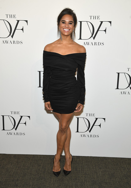 Misty Copeland Off-the-Shoulder Dress [clothing,shoulder,dress,cocktail dress,little black dress,black,joint,fashion,hairstyle,strapless dress,misty copeland,new york city,united nations,dvf awards]