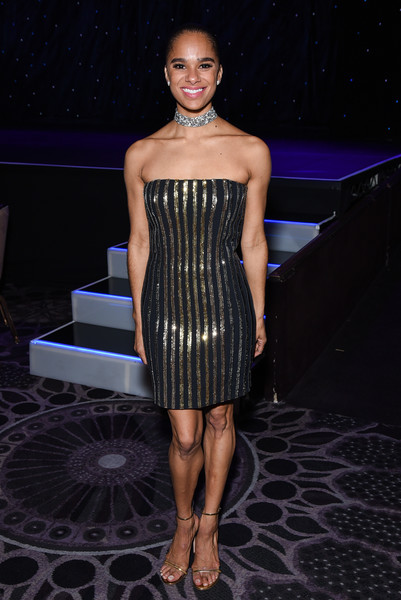 Misty Copeland Strapless Dress [clothing,fashion,dress,fashion model,beauty,strapless dress,cocktail dress,fashion show,human leg,leg,misty copeland,annual holiday benefit - inside,beverly hills,california,the beverly hilton hotel,american ballet theatre]