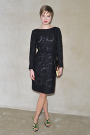Lea Seydoux rocked her new pixie with a lacy LBD for the Miu Miu Fall 2012 show in Paris.
