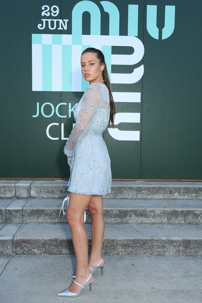 More Pics of Adele Exarchopoulos Slingbacks (1 of 7) - Heels Lookbook - StyleBistro [clothing,beauty,fashion,skin,lady,dress,snapshot,leg,footwear,shoulder,adele exarchopoulos,miu miu club,miu miu,hippodrome dauteuil,paris,france,club event]