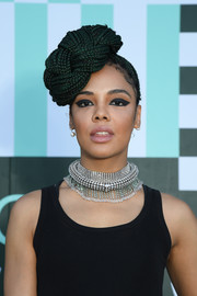 Tessa Thompson went for a statement beauty look with an extra-thick cat eye.