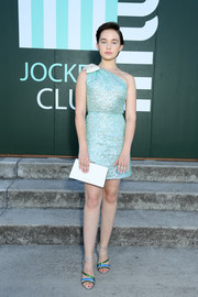 Cailee Spaeny looked downright darling in a turquoise sequined one-shoulder dress at the Miu Miu Club 2020 event.