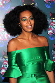 Solange Knowles topped off her look with bold green eyeshadow.