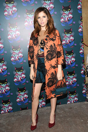 Anna Kendrick arrived for the 'Spark & Light' screening wearing an ultra-elegant orange and black floral coat.