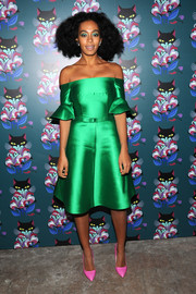 Solange Knowles looked all girly and shimmery at the 'Spark & Light' screening in a green Carven off-the-shoulder dress with trumpet sleeves.