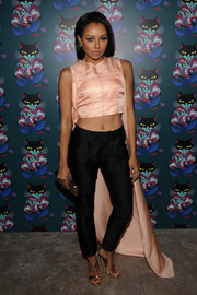 Kat Graham chose a pair of black Nirco Castillo slacks to complete her outfit.