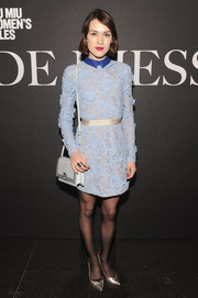 Ella Catliff looked preppy-chic in a collared pastel-blue lace-overlay dress during the 'De Djess' screening.