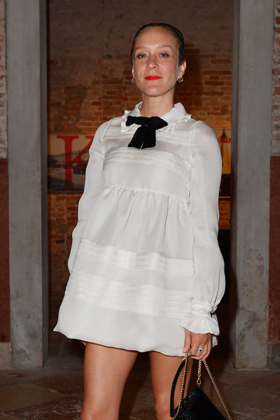 More Pics of Chloe Sevigny Baby Doll Dress (1 of 2) - Dresses & Skirts Lookbook - StyleBistro [miu miu womens tales dinner,white,clothing,fashion,fashion model,lady,shoulder,dress,leg,fashion design,footwear,chloe sevigny,venice,italy,venice film festival]