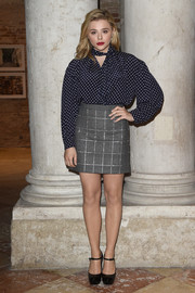 Chloe Grace Moretz donned a loose polka-dot blouse for the 'Women's Tales' dinner.