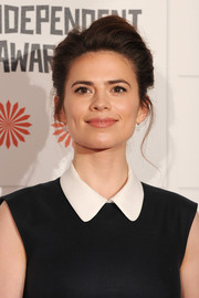 Hayley Atwell teased her hair into an elegant pompadour for the Moet British Independent Film Awards.