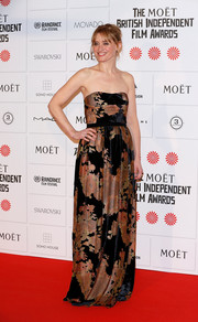 Anne-Marie Duff struck a pose on the Moet British Independent Film Awards red carpet wearing a lovely strapless gown in autumn tones.