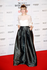 Opting for separates for her Moet British Independent Film Awards look, Edith Bowman chose a simple yet elegant sheer white blouse.