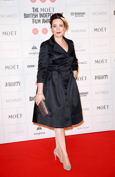 Olivia Colman was vintage-chic in a little black coat dress during the Moet British Independent Film Awards.