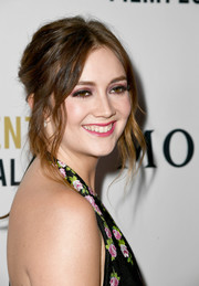 Billie Lourd was boho-glam wearing this messy center-parted updo at the Moet Moment Film Festival.