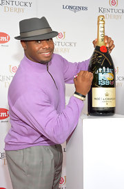 Ken Griffey Jr. opted for a lavender half-zip sweater instead of a suit when he attended the Kentucky Derby Moet & Chandon toast.