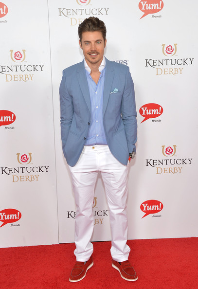 Josh Henderson's red penny loafers provided a striking contrast to his blue blazer at the Kentucky Derby Moet & Chandon toast.
